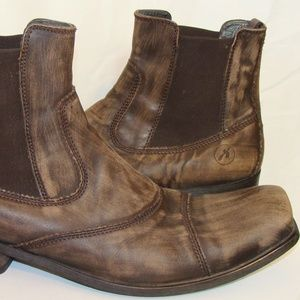 BRONX MENS BROWN LEATHER ANKLE BOOTS SIZE 14M